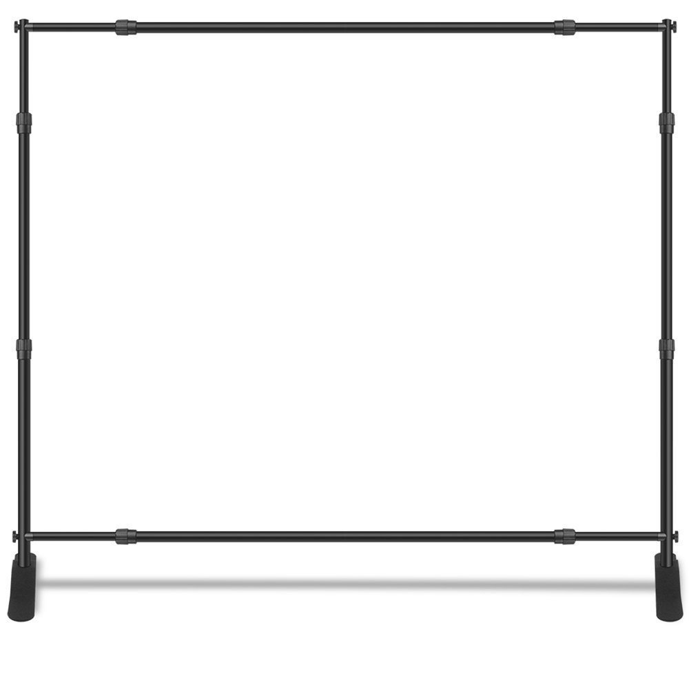 Adjustable Banner Stand Heavy Duty Telescopic Step and Repeat Stand Backdrop Wall Exhibitor, Display Photographic Background, Trade Show, Events (10' X 8')