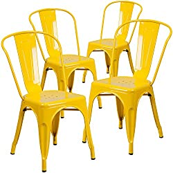Flash Furniture 4 Pk Yellow Metal Indoor Outdoor Stackable Chair