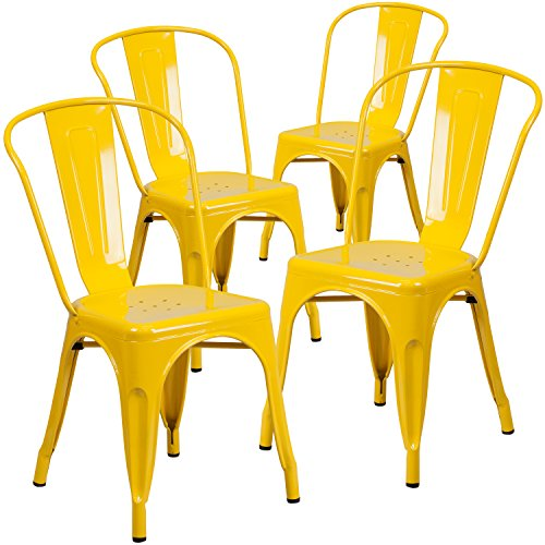 Flash Furniture 4 Pk. Yellow Metal Indoor-Outdoor Stackable Chair