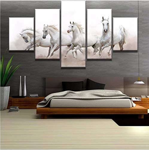 Arabian Horse Paintings - HHXX9 5 Piece Canvas Art White Arabian Horses Modern Decorative Paintings On Canvas Wall Art for Home Decorations Wall Decor 40X60Cm 40X80Cm 40X100Cm No Frame