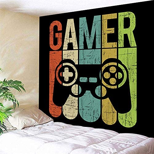 JAWO 90X71, Extra Large Black Wall Tapestry Gamer Label with Gamepad On Vintage Color Wood Pannel Tapestry Wall Hanging Home Decor for Living Room Bedroom Wall Blanket