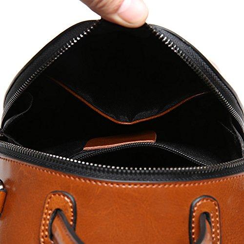 Sheli Monedero Daypacks Cuero Chocolate Damas Mochila Escolar Vintage Crossbody Para Bolsos Mujer 6Cfw6qr