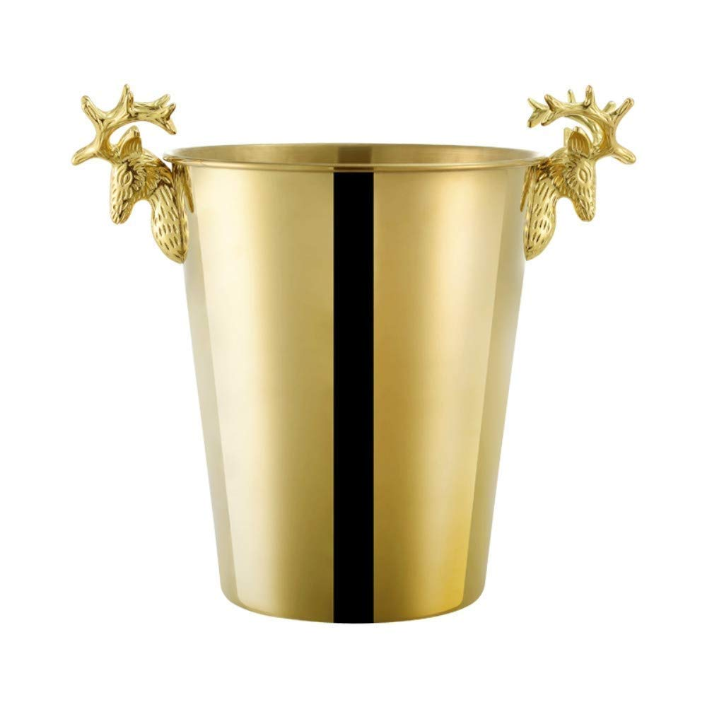 Wine And Cocktail Parties,Gold Suitable For Beer Jaxonn Home Stylish High-End Champagne Bucket Stainless Steel Plated Ice Bucket Size : 3L