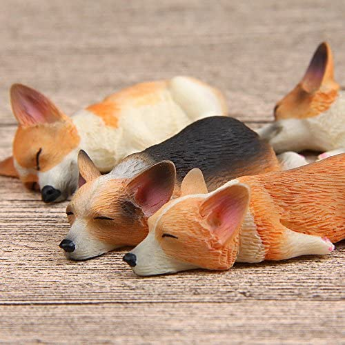 4 Pieces Resin Mini Lying Corgi Dog Bulldog Puppy Figurine Figure Miniature
