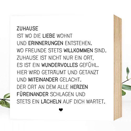 Wunderpixel Holzbild Zuhause 15x15x2cm Zum Hinstellenaufhängen Echter Fotodruck Mit Spruch Auf Holz Schwarz Weißes Wand Bild Aufsteller Zur