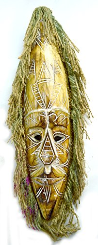 AFRICAN-HAND-CARVED-WOODEN-TRIBAL-MASK-with-HAIR-WALL-DECOR-brown