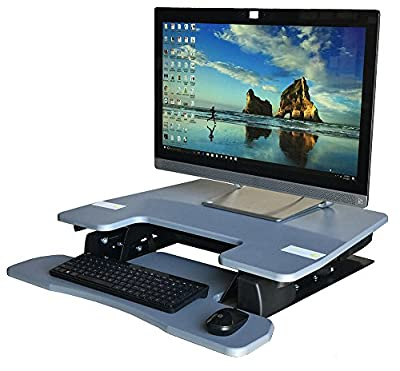 "Fancierstudio Standing Desk Riser Desk 28"" Great For Office Working Area Max Height 17.7"" Work Stand Desk Computer Desk Modern Gray RD01-28 GRY"
