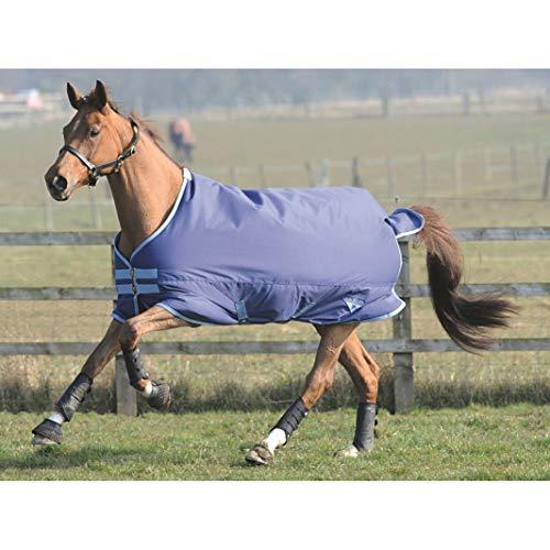 Saxon Horse Blankets - Saxon 600D Standard Neck Medium Turnout Blanket, Navy/Light Blue, Size 69