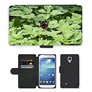 PU LEATHER case coque housse smartphone Flip bag Cover protection // M00109565 Cola de zorra Insecto Mariposa Verde // Samsung Galaxy S4 S IV SIV i9500