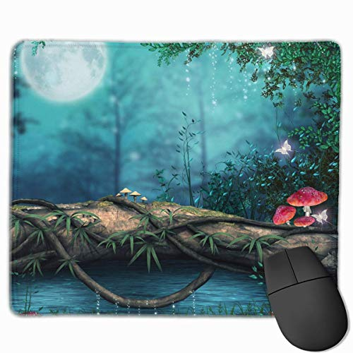 Fantasy Moon Mushroom Quality Comfortable Game Base Mouse Pad with Stitched Edges Size 11.81 9.84 Inch (Moon Mushrooms)