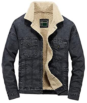 HTOOHTOOH Men's Single Breasted Loose Fit Thick Fleece