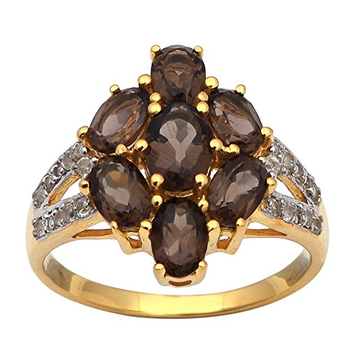 Smoky Quartz Cubic Zirconia Ring - 5