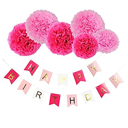 Realdios Lovely Paper Flowers Cream Gold Tissue Paper Pom Pom Flower with Paper Tassel Garland Circle Garland for Pink Gold Birthday Wedding Party Decoration Baby Shower Bridal Shower Decoration (6 Red flower-flag)