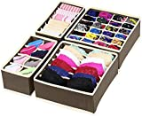 House of Quirk Foldable Fabric Drawer Organizer for Innerwear (30 cm x 35 cm x 10.01 cm, Set of 4, Brown)