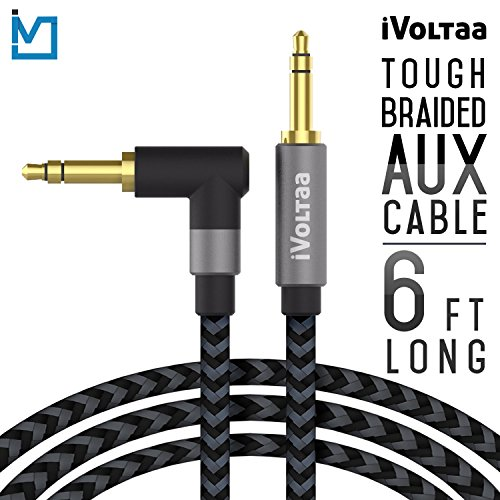 iVoltaa 3.5mm Braided 6 Ft. Long Aux Audio cable for Apple / Android