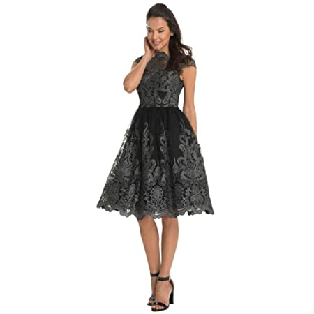 KEERADS Womens Vintage Formal Evening Short Sleeve Lace Swing Party Dress (Tag XL=UK