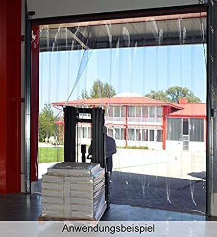 fertig vormontiert H3,00 x B3,00 m A2 PVC Streifenvorhang Lamellen 3x300mm