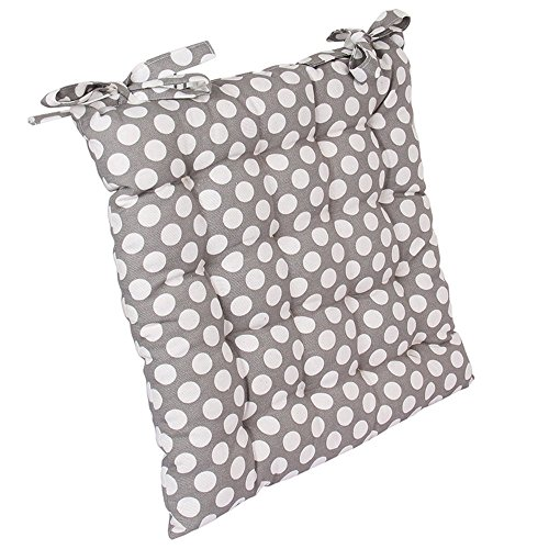 Pure Cotton Square Chair Pad Seat Chair Cushion Car Seat Pad Office Chair Pad Stool Cushion Used For Office Home Living Room Decor With Grey Polka Dot Pattern 16 X 16 Inches