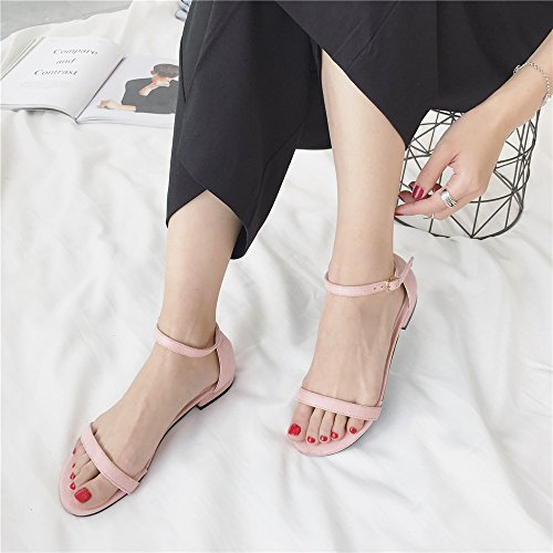 LIVY 2017 verano nuevas sandalias de color sólido simples zapatos abiertos inferiores suaves de las sandalias romanas Sra. Rosado