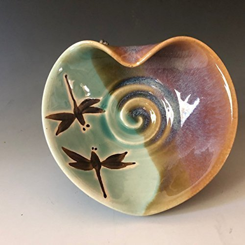 Pottery Dragonfly Heart Bowl, Kitchen Prep Bowl, Jewelry Dish (Jewelry Prep)