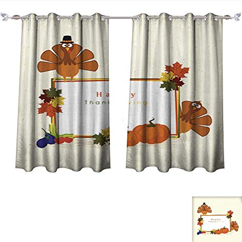 Leighhome Blackout Window Curtain Beautiful Frame for Happy Thanksgiving Celebration Tie Up Printed Blackout Curtain W55 x L72/Pair