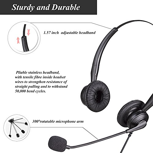 USB Binaural Headset with Microphone Noise Cancelling and Volume Adjuster for Internet Calls, Voip Communication, Skype, Softphone – Black