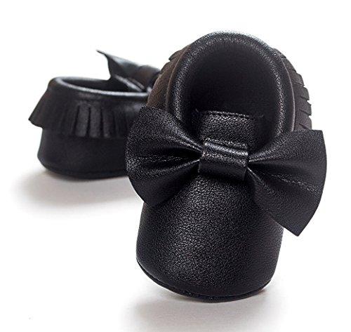 HAPPY CHERRY Suaves Zapatos Calzado de Primeros Pasos Zapatitos sin Cordones Mocasines con Borlas para Bebés Niños Niñas 12 - 18 Meses 13CM Talla EU 21 Color Rojo Brillante Negro
