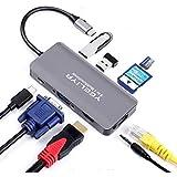 USB C Hub Adapter for MacBook Pro,YEELIYA Type C Hub 9-in-1 Multiport Adapter with USB C to Vga,HDMI-Compatible Port ,USB 3.0