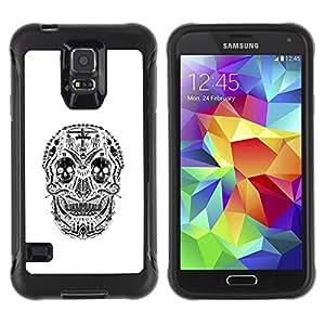 Suave TPU Caso Carcasa de Caucho Funda para Samsung Galaxy S5 SM-G900 / Skull Christian Black Cross White / STRONG