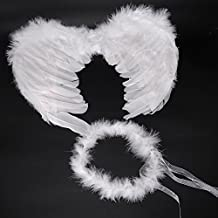 RUIZSH Angel Feather Wings and Halo Headband for Cosplay, Party Costumes, White
