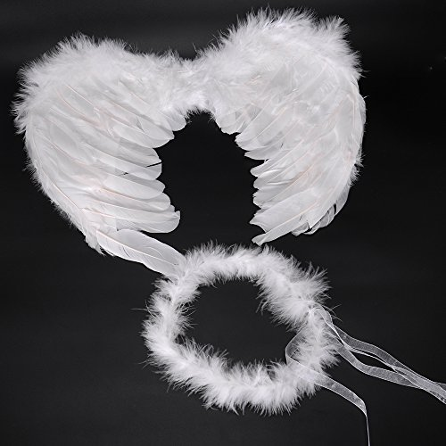 RUIZSH Angel Feather Wings and Halo Headband for Cosplay, Party Costumes, White (For Children Wings)