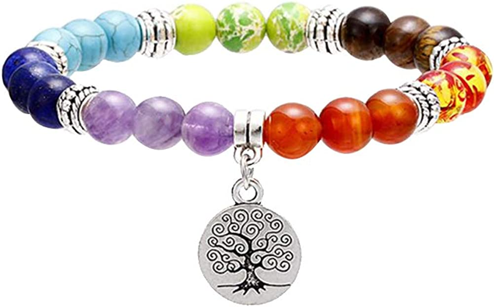 Gudeke 7 Chakra Piedras Preciosas Naturales Yoga Reiki Cura Pulsera Árbol de la Vida/Lotus/OM Símbolo Encanto Brazalete
