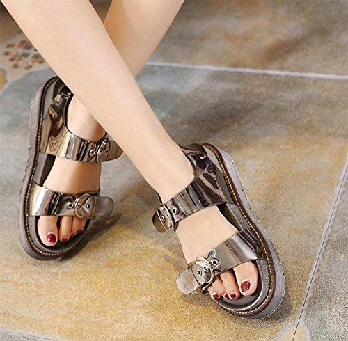 Sommer Sandalen dicke Kruste Muffin Sandalen Frauen flache Sandalen Frauen gun color
