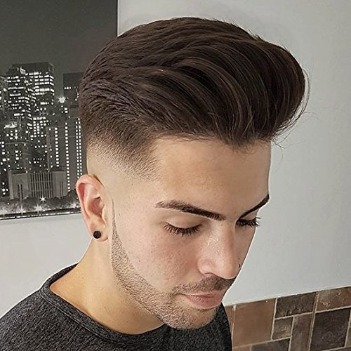 SinoArt Men's Hairpiece Human Hair Toupee Wig Super Thin Skin Hair Replacement Base Size 8''x10'' #4 Dark Brown by SinoArt