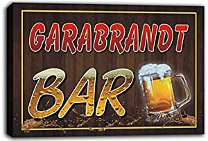 scw3-103353 GARABRANDT Name Home Bar Pub Beer Mugs Cheers Stretched Canvas Print Sign