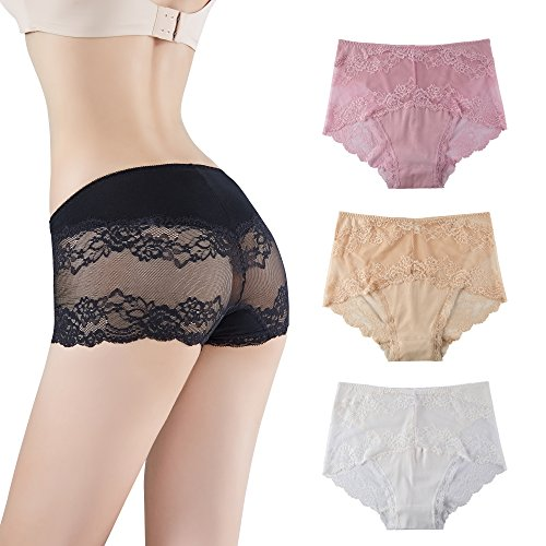 Mid Cut Lace (Innersy Women's Lift The Hips Mid Cut Seamless Sexy Lace Panties Briefs Underwear 3 Pack (2XL, White& Beige&Cherry Pink))
