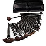 KLAREN 32 Pcs Black Rod Makeup Brush Cosmetic Set Kit with Case Science Purchaseng Strips
