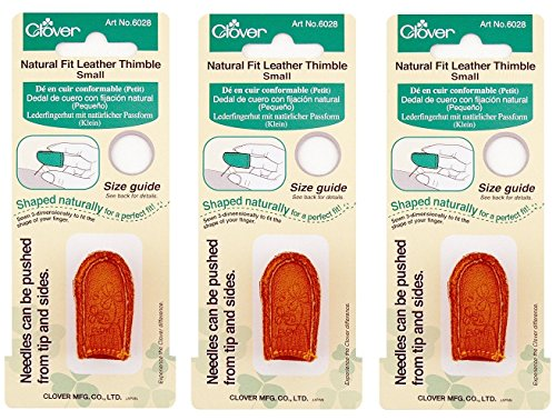 Clover Natural Fit Leather Thimble, Small (3 Pack)