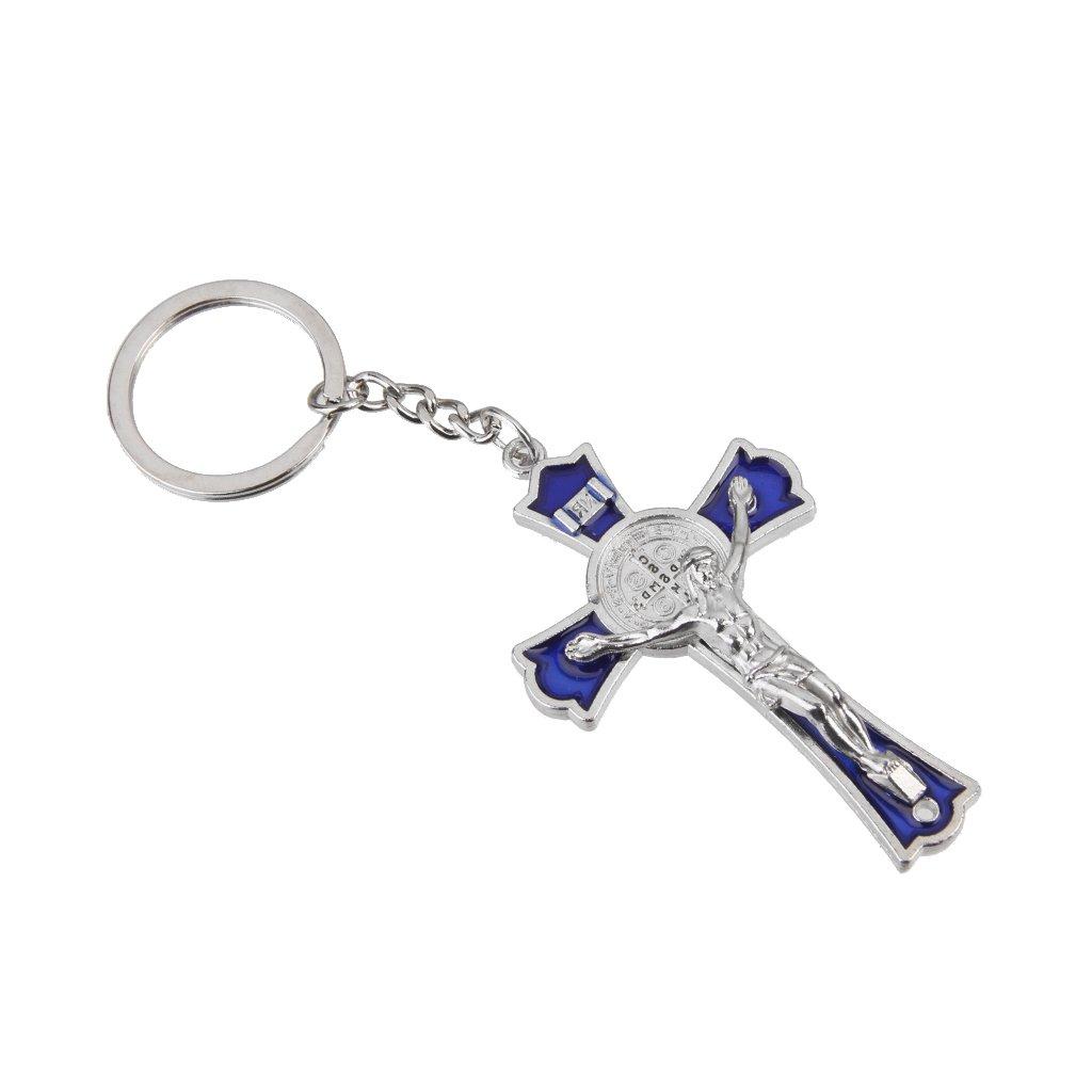 Blue Crucifix Jesus Keyring Holy Cross Key Ring Religious Catholic Gift Generic