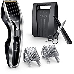 Philips Cordless Hair Clipper Series 7000 with Adjustable Beard Comb and Case, 120mins Cordless Use, Black/Silver, HC7450/80