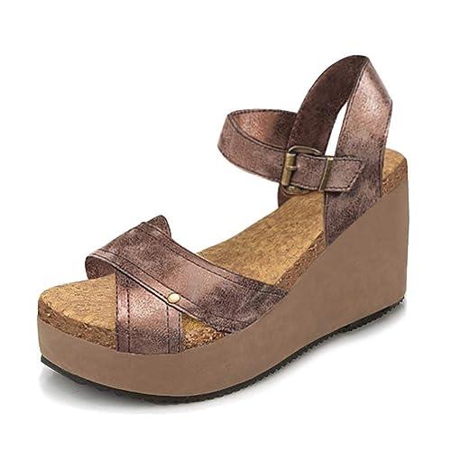 Damen Sandalen Keilabsatz Sommerschuhe Peep Toe Schuhe