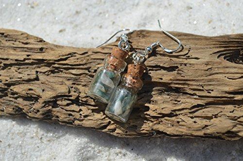 Green Moss Agate Stones in Delicate Glass Vial Earrings ()