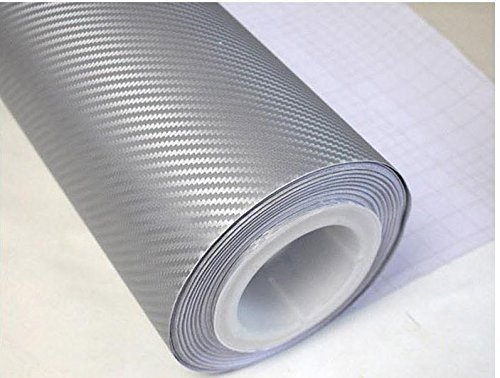 "Silver 3D Carbon Fiber Film Twill Weave Vinyl Sheet Roll Wrap (12"" X 60"", Silver)"