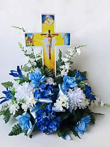 (Eternal Light - Solar Lighted Cross - Jesus Cemetery Decoration Grave Memorial)