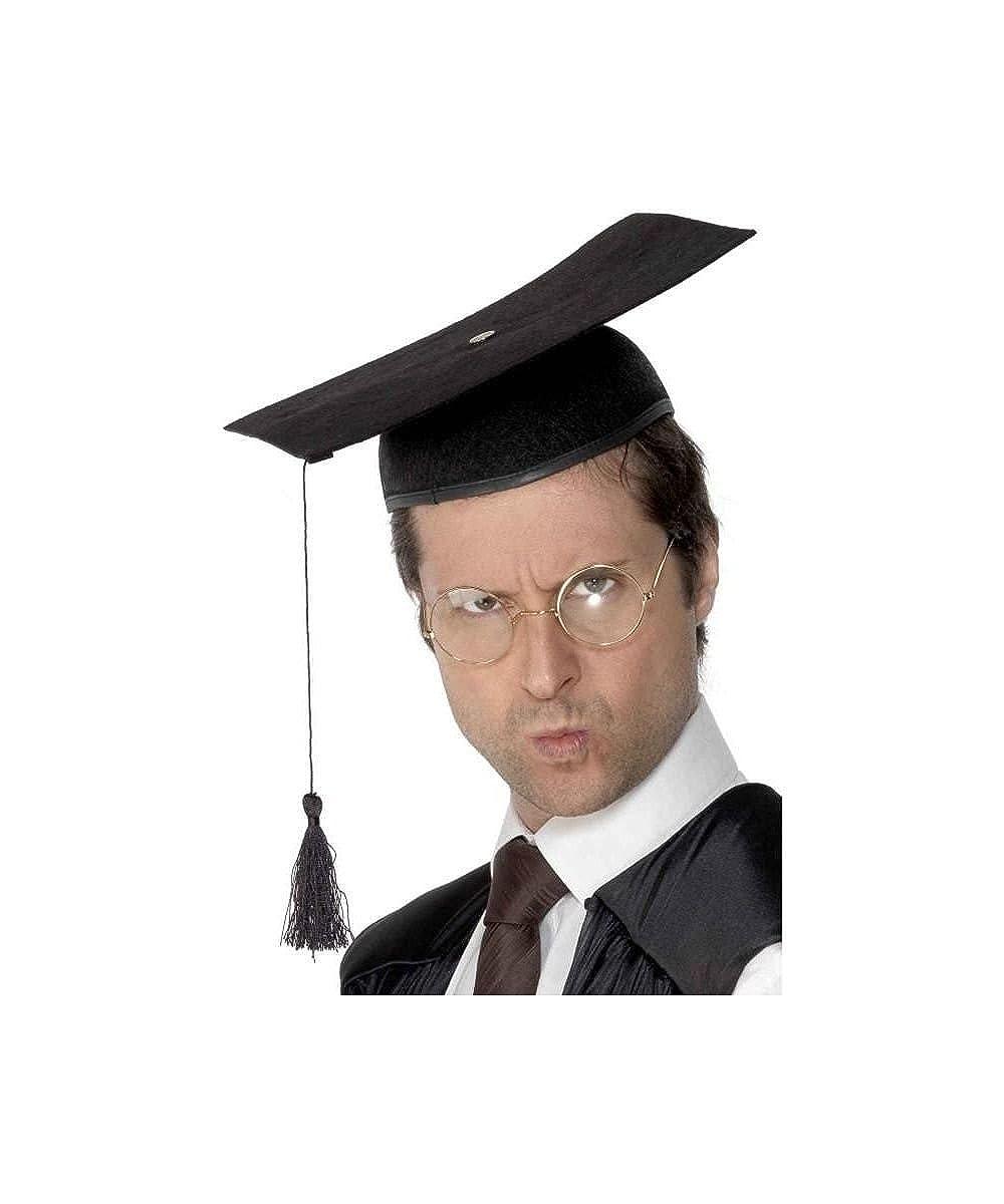 Amazon.com: Smiffy\'s Black Mortar Board Adult Graduation Cap with ...