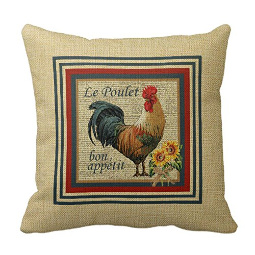FreeMinds Cotton Linen 18 x 18inch French Country Rooster Throw Pillow ()
