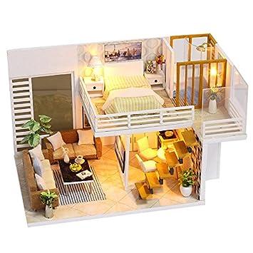 Amazon.es: TOOGOO Diy miniatura de madera Casa de Munecas Muebles Kits Juguetes Artesania Artesanal Modelo Miniatura Kit Dollhouse Juguetes Regalo para ...