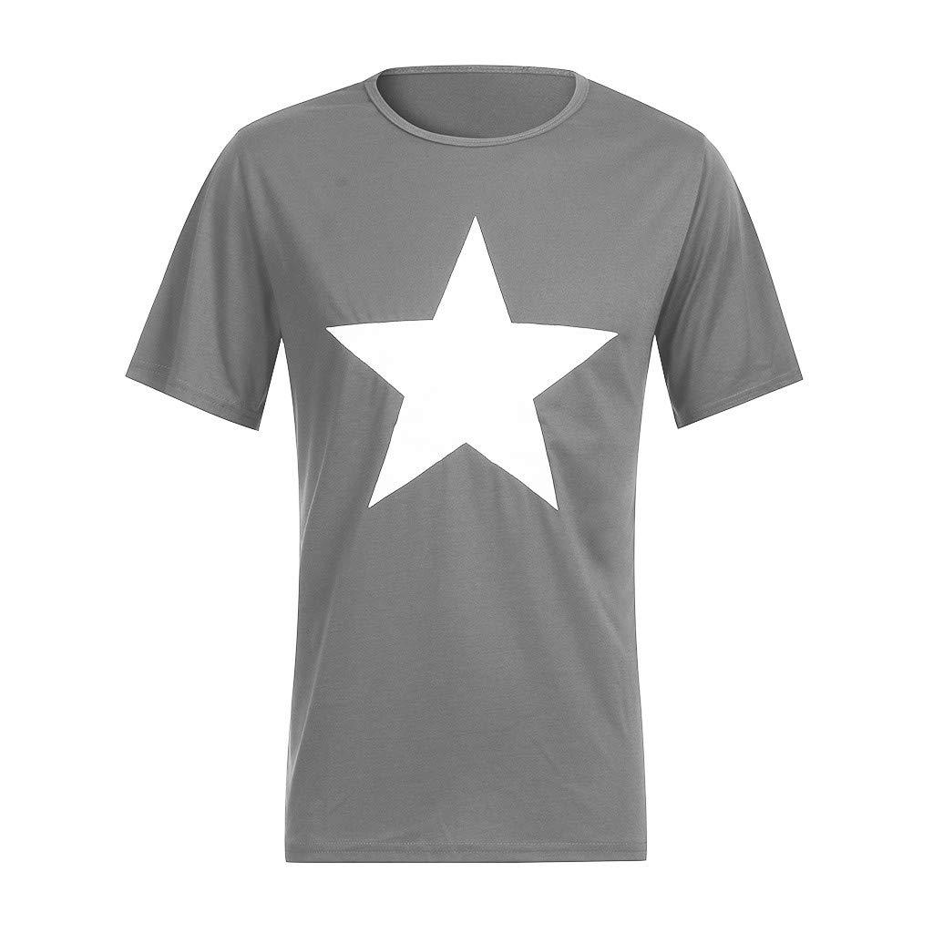 muyuhan Men Casual Pentagram Print Tees Short Sleeve Round Neck Pullover T-shirt Tops Blouse