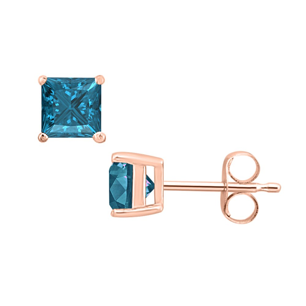 3MM TO 10MM SVC-JEWELS Princess Cut Swiss Blue Topaz Solitaire Stud Earrings 14K Rose Gold Over .925 Sterling Silver For Womens /& Girls