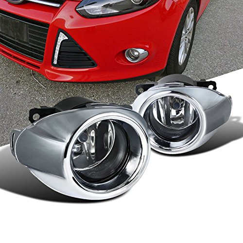YUK 2012-2014 Ford Focus Bumper Fog Lights Driving Lamps w/Bezel+Chrome Grille Cover Pair
